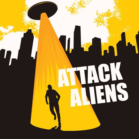 Vector banner on the theme of alien attack. An illustration of a large flying saucer over a city that sent a bright beam at a person. The UFO invasion. Contact with an extraterrestrial civilization. Illustration