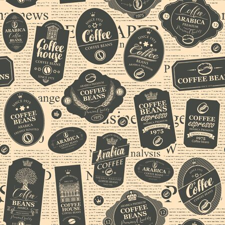 Vector seamless pattern in retro style on the coffee and coffee house theme with various coffee labels on the background of old newspaper. Suitable for wallpaper, wrapping paper, fabric, textile Illustration