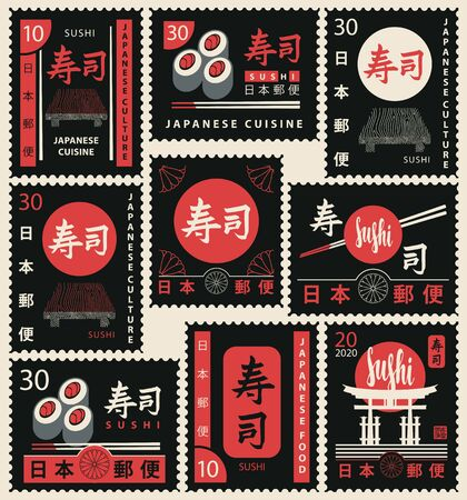 Set of black vector postage stamps on the theme of Japanese cuisine and sushi. Decorative postage stamps in retro style. Hieroglyphs Sushi, Japan Post Ilustrace