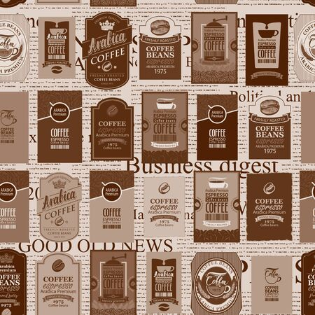 Vector seamless pattern in retro style on the coffee theme with various coffee labels on the background of old unreadable newspaper. Suitable for wallpaper, wrapping paper, textile, fabric