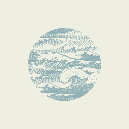 Vector banner of round shape with hand-drawn waves in retro style. Stormy waves with white breakers of sea foam, decorative illustration of the sea or ocean