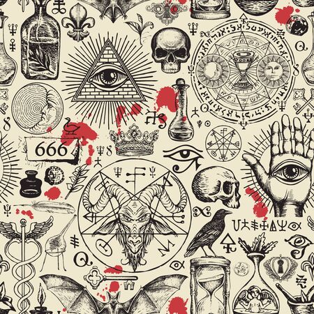 Vector seamless pattern on a theme of freemasonry, satanism and occultism in retro style. Abstract repeating illustration with hand-drawn sketches and blood drops on the old paper background Ilustração