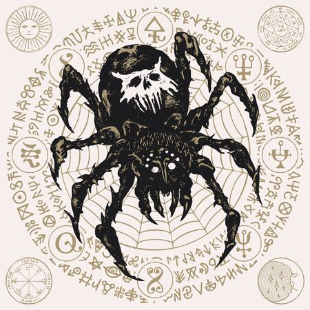 Decorative illustration with a big black spider on the background of cobweb and unreadable scrawls written in a circle. Vector hand-drawn banner in retro style Çizim