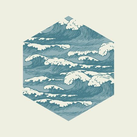 Vector banner of hexagonal shape in retro style with hand-drawn waves. Decorative illustration of the sea or ocean, blue stormy waves with white breakers of sea foam
