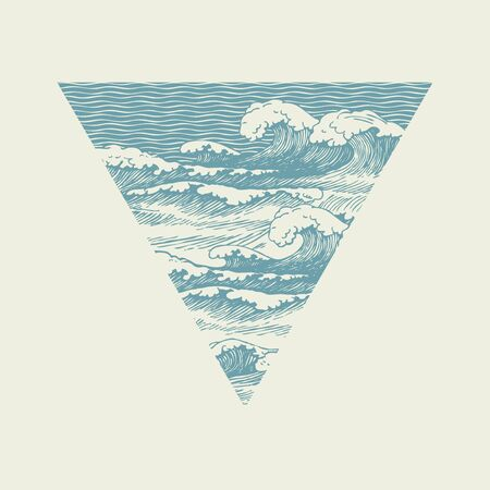 Vector banner of triangular shape with hand-drawn waves in retro style. Decorative illustration of the sea or ocean, stormy waves with white breakers of sea foam