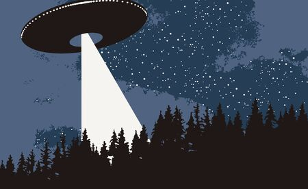 Vector banner on the theme of alien invasion. Realistic illustration of an UFO flying over the forest. Earth landscape and a flying saucer with bright ray in the night sky Vectores