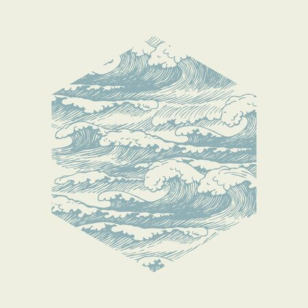 Vector banner of hexagonal shape with hand-drawn waves in retro style. Decorative illustration of the sea or ocean, stormy waves with white breakers of sea foam Ilustração