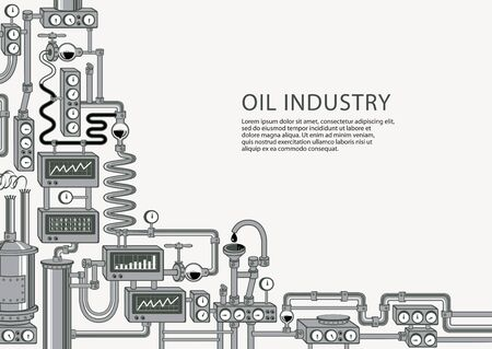 Vector banner on the theme of of oil industry with various industrial equipment, appliances, devices, sensors, mechanisms, pipes and place for text on a light background.