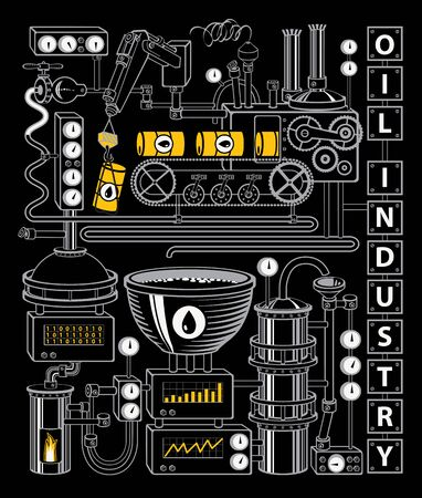 Vector banner on the theme of of oil refining industry. Decorative illustration with various industrial equipment, appliances, sensors, devices, mechanisms, pipes on the black background.