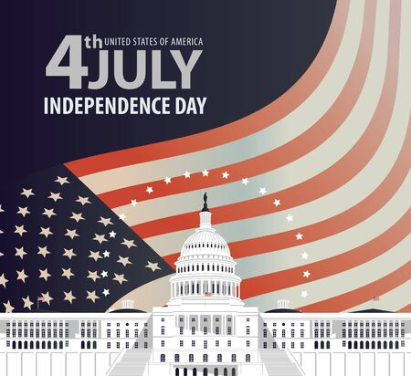 Vector banner on the theme of US independence Day. Greeting card or illustration of the Capitol Building in Washington DC and the words 4th july, Independence Day on the background of American flag