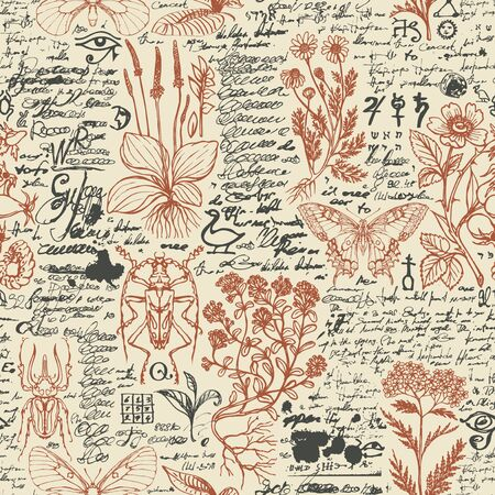 Vector seamless pattern with medicinal herbs and insects in retro style. Hand-drawn herbs, beetles, butterflies and unreadable scribbles on an old paper background. Wallpaper, wrapping paper, fabric