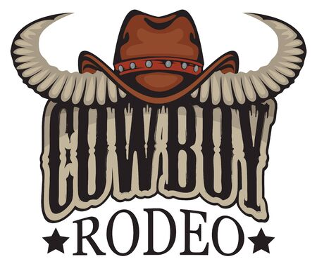 Vector banner or emblem for a Cowboy Rodeo show in retro style. Cowboy hat with bull horns and lettering. Illustration