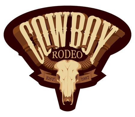 Vector emblem for a Cowboy Rodeo show in retro style. Decorative illustration with skull of bull and lettering. Illustration