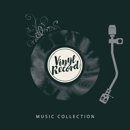 Vector monochrome banner with old vinyl record, record player and calligraphic lettering on the black background in retro style. Suitable for music poster, flyer, card, brochure, invitation, cover