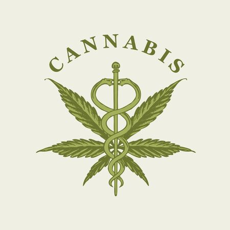 Vector banner on the theme of marijuana legalization. Illustration with a hand-drawn hemp leaf, a Caduceus and an inscription on a light background. Medical cannabis, natural product, organic hemp Illusztráció