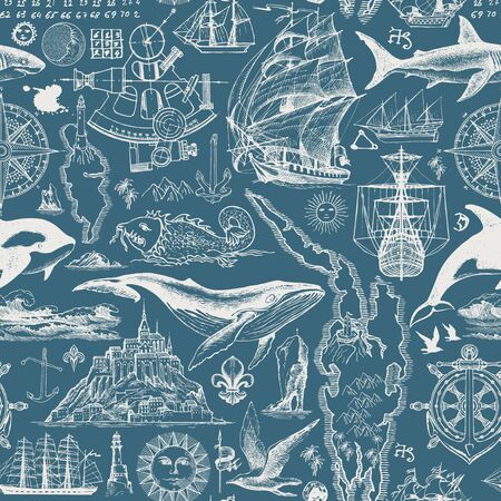 Vector abstract seamless pattern on the theme of travel, adventure and discovery. Vintage illustration with hand-drawn sketches of sailboats, islands, fishes. White drawings on the blue background