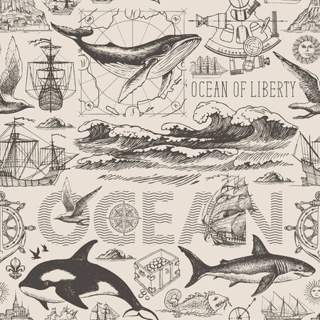Vector vintage seamless pattern on the theme of sea travel, adventure, discovery. Decorative background with hand-drawn ocean waves, sailboats and various sea inhabitants in retro style Vetores