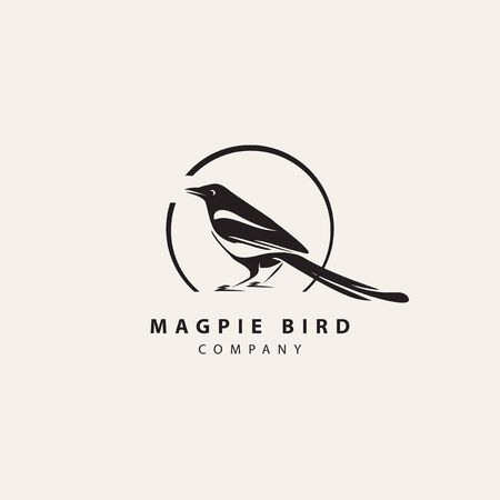 Simple modern magpie bird  in circle frame with inscription. Animal vector icon isolated on light background, template element for web design
