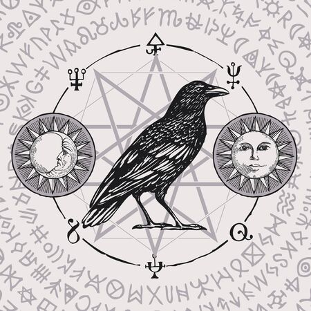 Banner on the witchcraft theme with wise black Crow in vintage style. Vector illustration with sorcery Raven on background of star, sun, moon and scribbles written in a circle, imitating magic symbols