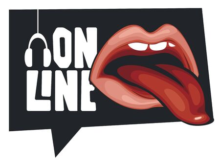 Vector music banner in form of speech bubble for online broadcasting with a human mouth and a protruding tongue. Suitable for advertising, poster, flyer, invitation, sticker, web page, design element Illustration