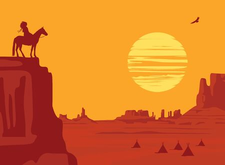 Vector Western landscape with wild American prairies and a silhouette of an Indian leader riding a horse on top of a cliff at the orange sunset. Decorative illustration, Wild West vintage background 向量圖像