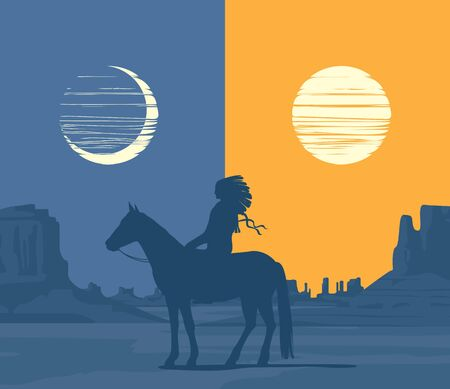 Vector Western landscape with wild American prairies and the silhouette of a lone Indian on a horse. Decorative illustration with a Native american day and night. Vintage Wild West background