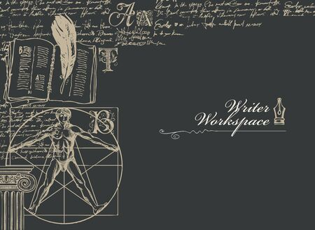 Writer workspace. Vector banner on a writers theme with sketches and place for text on a black background. Vintage illustration with hand-drawn Vitruvian man, feather, notebook and illegible notes Vektorgrafik