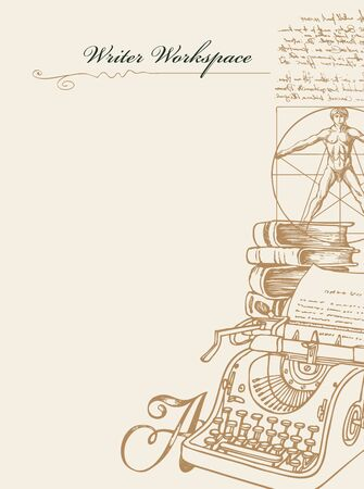 Writer workspace in retro style with sketches, place for text and inscription. Vector artistic illustration with hand-drawn typewriter, books, Vitruvian man and unreadable handwritten notes