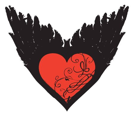 Winged heart. Vector graphic abstract illustration of a red heart with black wings isolated on white background. Suitable for valentine card, t-shirt design, tattoo, design element, sticker