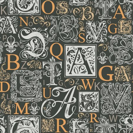 Vector seamless pattern with capital letters and hand-drawn initial letters on a dark backdrop. Decorative background with alphabet letters. Suitable for wallpaper, wrapping paper or fabric Foto de archivo - 148969300