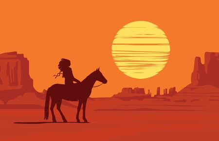 Vector landscape with wild American prairies and silhouette of a lone Indian on horseback at orange sunset or dawn. Decorative illustration on the theme of the Wild West. Western vintage background