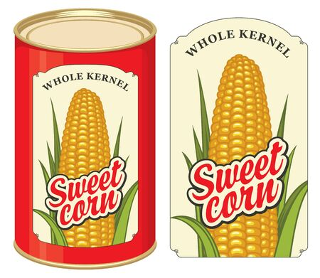 Sweet corn label and tin can with this label. Label design with a corn cob and inscriptions. Vector banner in retro style for canned sweet corn, long-term storage product. Illustration
