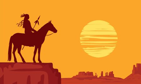 Vector landscape with wild American prairies and silhouette of a lone Indian on horseback with spear at orange sunset. Decorative illustration on the theme of the Wild West. Western vintage background 向量圖像