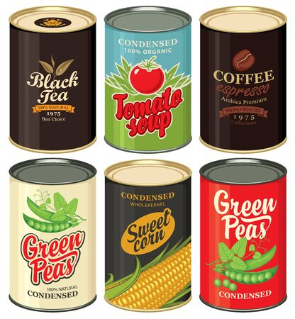 Retro food cans. Set of vector illustrations of a tin cans with labels of green peas, sweet corn, tomato soup, black tea and coffee. Canned food, long-term storage product. Vectores