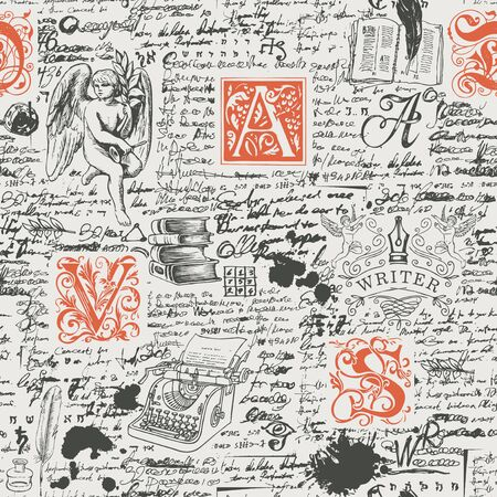 Vector seamless pattern on a writers theme. Abstract background with unreadable handwritten notes and hand-drawn initial letters, an angel, a typewriter. Suitable for wrapping paper, wallpaper, fabric