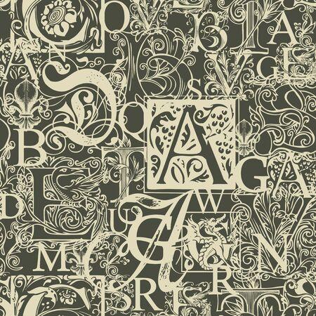 Vector naadloos patroon met hoofdletters en handgetekende beginletters op een donkere achtergrond. Abstracte achtergrond met sierlijke Alfabetletters. Geschikt voor behang, inpakpapier, textiel