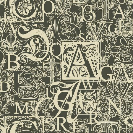 Vector seamless pattern with capital letters and hand-drawn initial letters on a dark backdrop. Abstract background with ornate alphabet letters. Suitable for wallpaper, wrapping paper, textile