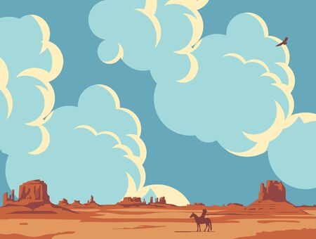 Hot prairies and the silhouette of an Indian on a horse. Vector landscape with a lone rider in the desert on the background of cloudy sky. Decorative illustration on the theme of the Wild West. 向量圖像