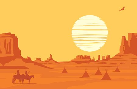 Vector Western landscape at orange sunset with silhouettes of Indians on horseback and indian wigwams at the wild American prairies. Decorative illustration, Wild West vintage background