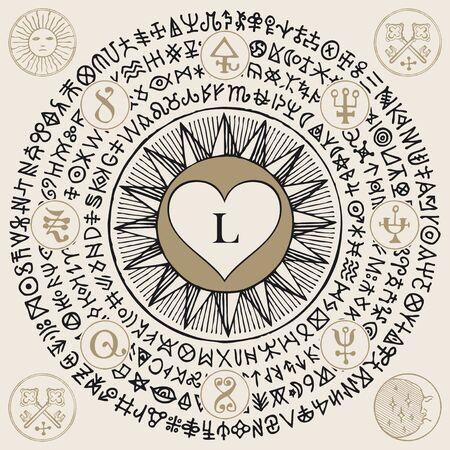A heart with Letter L inside in the framing of scribbles imitating ancient hieroglyphs, medieval runes, spiritual symbols written in a circle on a beige background. Vector illustration, banner, mascot