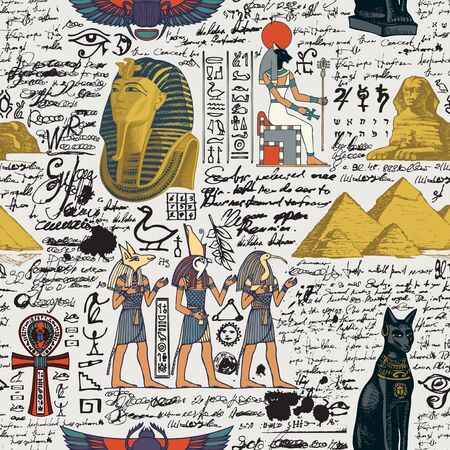 Seamless pattern on an Ancient Egypt theme with color images of Egyptian gods and unreadable scribbles in retro style. Vector abstract background. Suitable for Wallpaper, wrapping paper, fabric 向量圖像