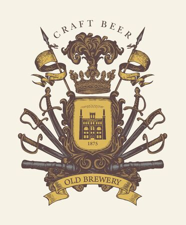 Old brewery coat of arms in vintage style. Hand-drawn emblem on craft beer theme. Vector royal emblem with crown, spears, sabers, swords, cannons, ribbon and brewery building on a knightly shield
