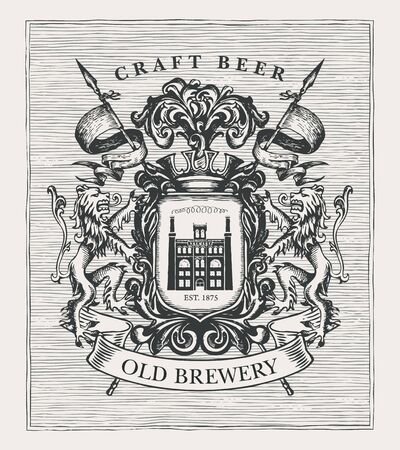 Hand-drawn banner with coat arms for old brewery and craft beer. Suitable for brewery, pub and bar design. Vector heraldry with lions, spears, knightly helmet, shield and brewery facade Çizim