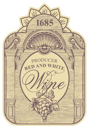 Wine label with a bunch of grapes, a seashell and inscriptions in a figured frame. Vector ornate hand-drawn label in vintage style