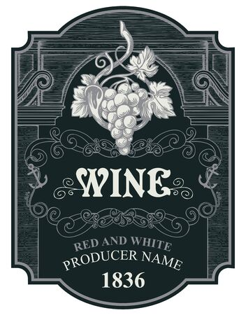 Wine label with a grape bunch, curlicues and inscriptions in a figured frame. Black vector hand-drawn label in vintage style