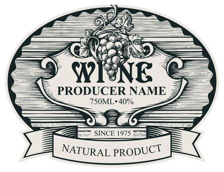 Wine label with a bunch of grapes and a ribbon in an oval frame. Vector ornate hand-drawn label in vintage style