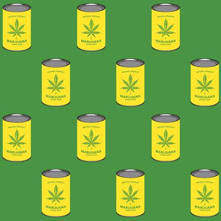 Seamless pattern with yellow marijuana cans on the green background in retro style. Smoking weed, canned cannabis. Vector repeatable illustration, suitable for wallpaper, wrapping paper, fabric
