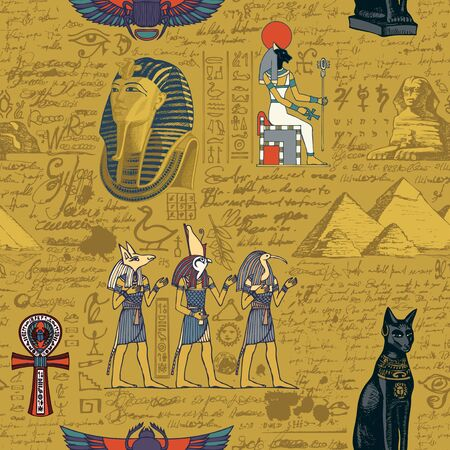 Seamless pattern on an Ancient Egypt theme with colored images of Egyptian gods and illegible scribbles in retro style. Vector abstract background. Suitable for Wallpaper, wrapping paper, fabric
