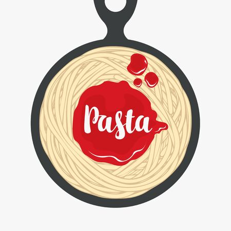 Appetizing pasta with ketchup in a black frying pan in retro style. Italian traditional food. Vector banner or menu for a restaurant with spaghetti, tomato sauce and the calligraphic inscription Pasta