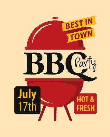 Bbq or barbecue party invitation card. Vector banner in flat style with barbeque grill and inscriptions Illustration